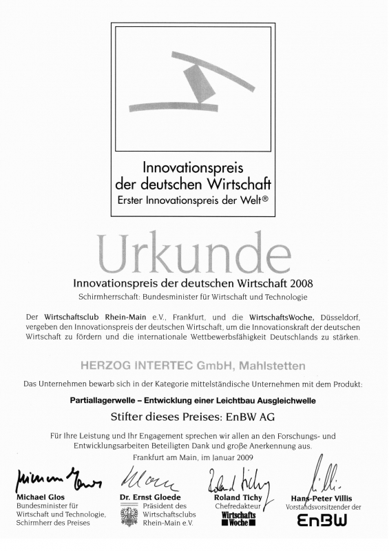 Urkunde Innovationspreis der deutschen Wirtschaft 2008 für HERZOG INTERTEC