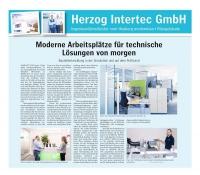 Zeitungsartikel HERZOG INTERTEC GmbH mit dem Titel moderne Arbeitsplätze für technische Lösungen von morgen