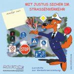 Logo Polizei Medien Lernhilfe zur Verkehrserziehung mit Justus sicher im Strassenverkehr