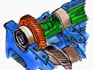 Zeichnung eines Verbrennungsmotors